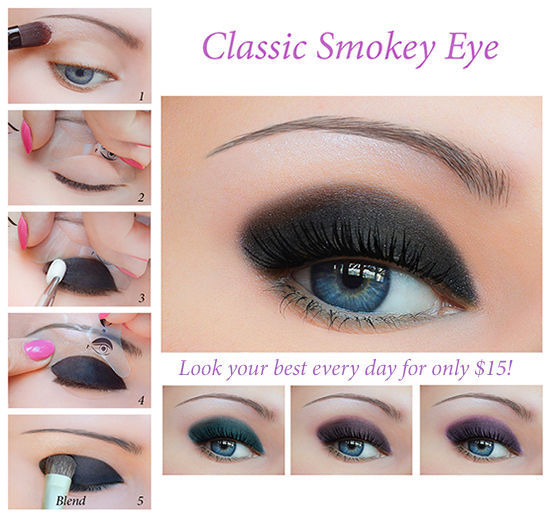 Quick Eye Makeup Stencils Eyeliner Eye shadow Eyebrow Tool Free Shipping UK1