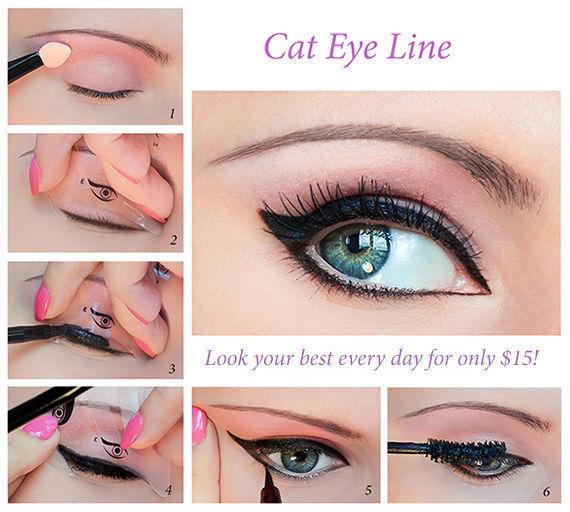 Quick Eye Makeup Stencils Eyeliner Eye shadow Eyebrow Tool Free Shipping UK1