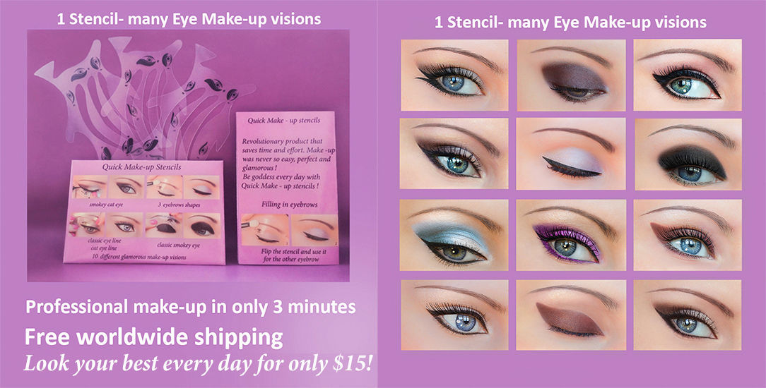 Quick Eye Makeup Stencils Eyeliner Eye shadow Eyebrow Tool Free Shipping ES1