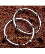 Sterling Silver 27mm Bali Hoop Earrings SE-173-DG - $15.29