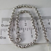 SOLID 18K WHITE GOLD BRACELET WITH ROUND CIRCLE ROLO MESH 2.5 mm MADE IN ITALY*