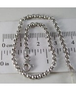 SOLID 18K WHITE GOLD BRACELET WITH ROUND CIRCLE ROLO MESH 2.5 mm MADE IN... - $322.00