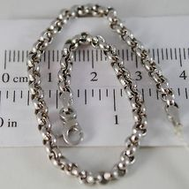 SOLID 18K WHITE GOLD BRACELET WITH ROUND CIRCLE ROLO MESH 3.3 mm, MADE IN ITALY image 1