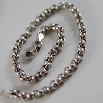 SOLID 18K WHITE GOLD BRACELET WITH ROUND CIRCLE ROLO MESH 3.3 mm, MADE IN ITALY image 2