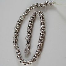 SOLID 18K WHITE GOLD BRACELET WITH ROUND CIRCLE ROLO MESH 4 mm, MADE IN ITALY image 2