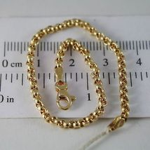 SOLID 18K YELLOW GOLD BRACELET WITH ROUND CIRCLE ROLO MESH 2.5 mm MADE IN ITALY