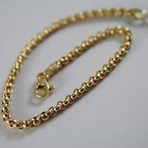 SOLID 18K YELLOW GOLD BRACELET WITH ROUND CIRCLE ROLO MESH 2.5 mm MADE IN ITALY  image 2