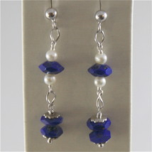 925 RODIUM SILVER EARRINGS WITH NATURAL LAPIS LAZULI AND FW PEARL, MADE IN ITALY