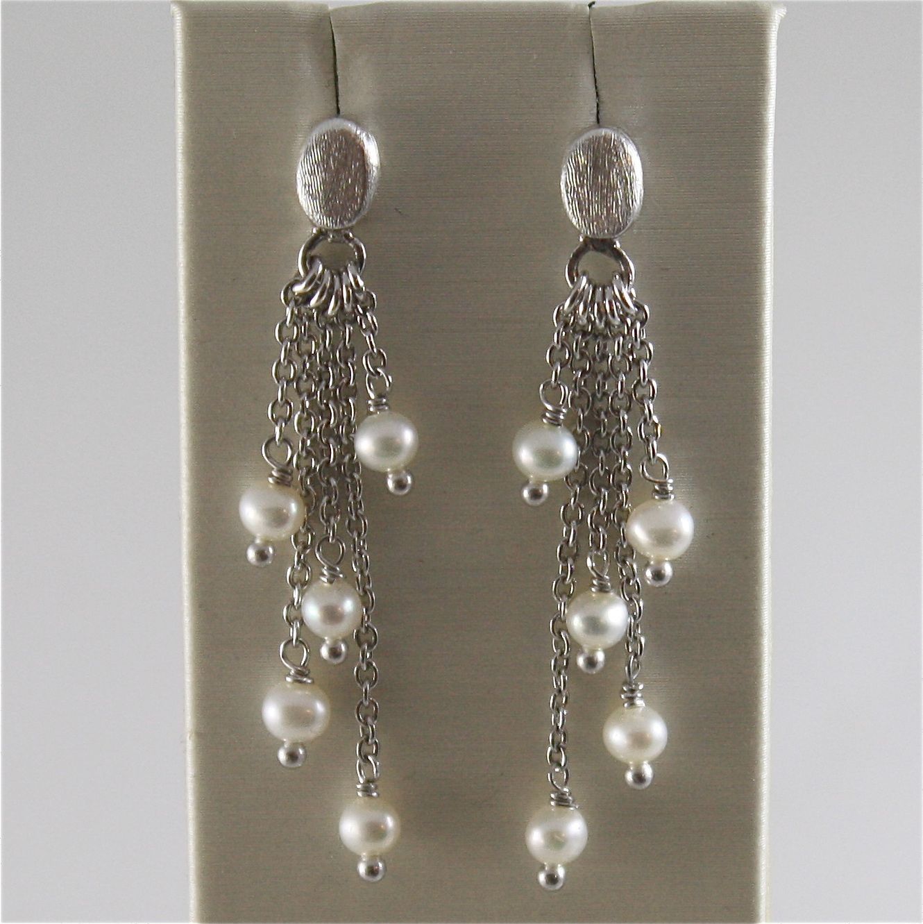 925 RODIUM SILVER EARRINGS WITH WHITE FRESHWATER PEARLS MADE IN ITALY 1.77 IN