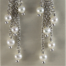 925 RODIUM SILVER EARRINGS WITH WHITE FRESHWATER PEARLS MADE IN ITALY 1.77 IN image 2