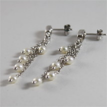 925 RODIUM SILVER EARRINGS WITH WHITE FRESHWATER PEARLS MADE IN ITALY 1.77 IN image 5