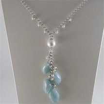 925 RODIUM SILVER NECKLACE WITH NATURAL AQUAMARINE AND FW PEARLS, MADE IN ITALY