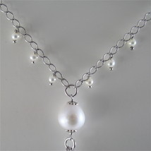 925 RODIUM SILVER NECKLACE WITH NATURAL AQUAMARINE AND FW PEARLS, MADE IN ITALY image 2