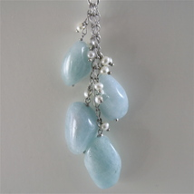 925 RODIUM SILVER NECKLACE WITH NATURAL AQUAMARINE AND FW PEARLS, MADE IN ITALY image 4