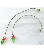 Long Chain Red and Green Shoulder Duster Earrings - $9.99