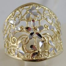 SOLID 18K WHITE & YELLOW GOLD BAND FLOWER RING, FINELY WORKED, MADE IN ITALY