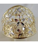 SOLID 18K WHITE & YELLOW GOLD BAND FLOWER RING, FINELY WORKED, MADE IN I... - $414.00