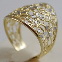 SOLID 18K WHITE & YELLOW GOLD BAND FLOWER RING, FINELY WORKED, MADE IN ITALY image 2