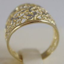 SOLID 18K WHITE & YELLOW GOLD BAND FLOWER RING, FINELY WORKED, MADE IN ITALY image 3
