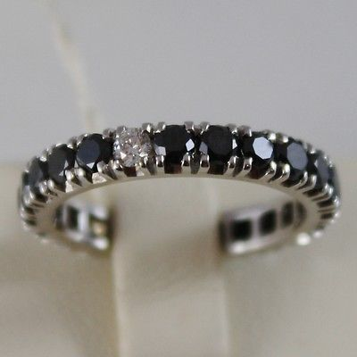 SOLID 18K WHITE GOLD RING BLACK WHITE DIAMONDS CT 0.96, ETERNITY, MADE IN ITALY
