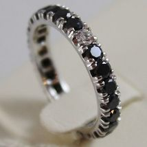 SOLID 18K WHITE GOLD RING BLACK WHITE DIAMONDS CT 0.96, ETERNITY, MADE IN ITALY image 2
