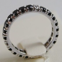 SOLID 18K WHITE GOLD RING BLACK WHITE DIAMONDS CT 0.96, ETERNITY, MADE IN ITALY image 3