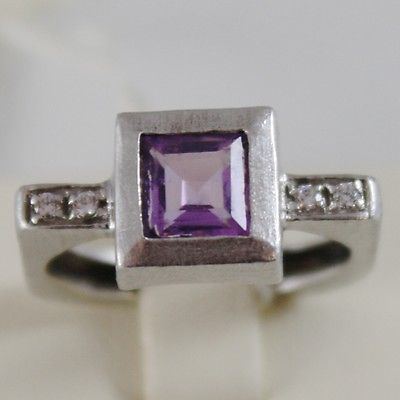SOLID 18K WHITE GOLD RING WITH CUBIC ZIRCONIA AND PRINCESS AMETHYST MADE IN ITAL