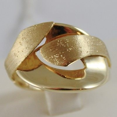 SOLID 18K YELLOW GOLD BAND RING LUMINOUS FINELY WORKED AND SATIN, MADE IN ITALY