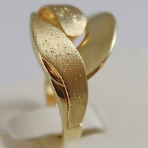SOLID 18K YELLOW GOLD BAND RING LUMINOUS FINELY WORKED AND SATIN, MADE IN ITALY image 2