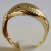SOLID 18K YELLOW GOLD BAND RING LUMINOUS FINELY WORKED AND SATIN, MADE IN ITALY image 3