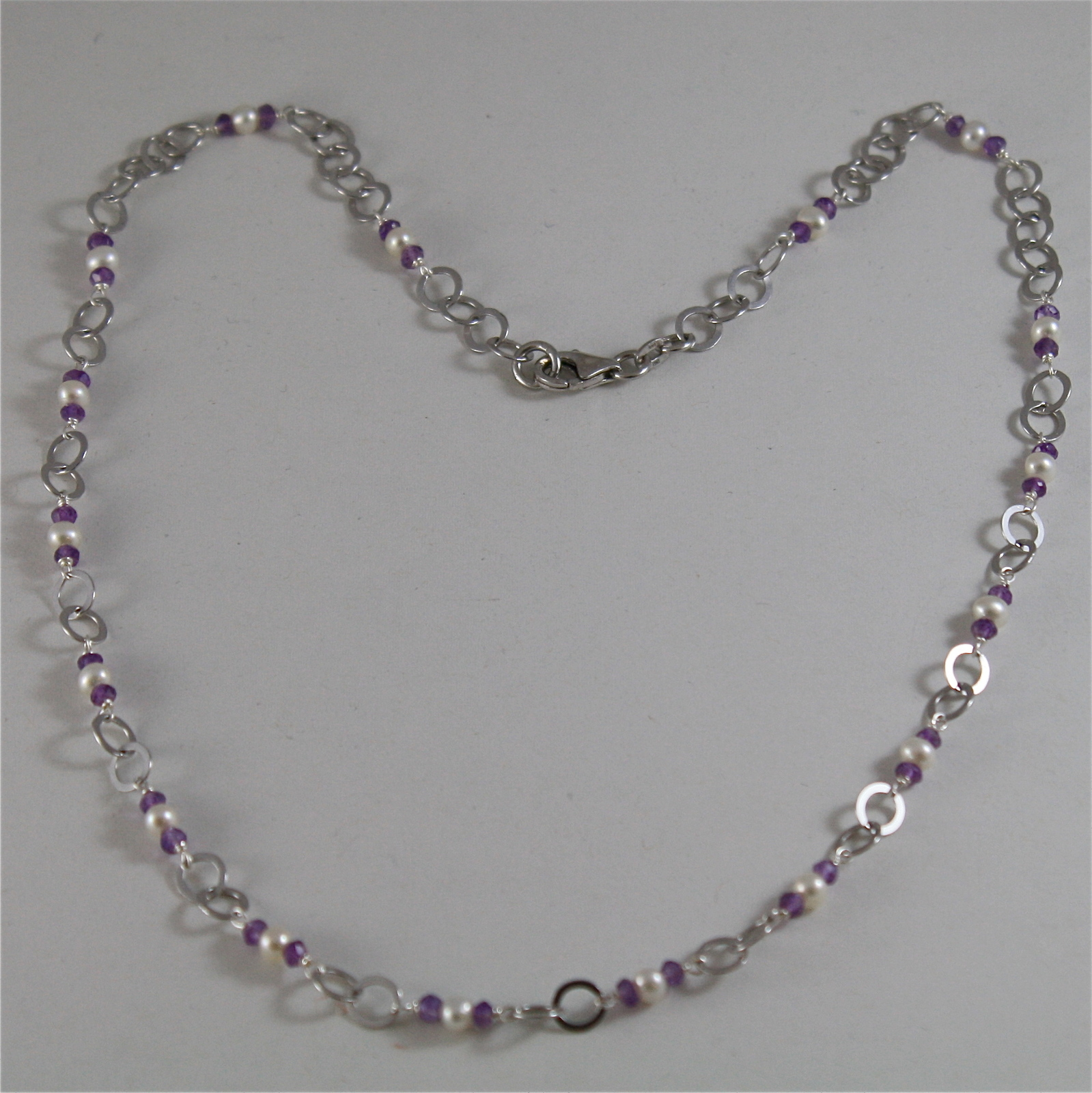925 RODIUM SILVER NECKLACE WITH NATURAL AMETHYST AND WHITE PEARLS, MADE IN ITALY