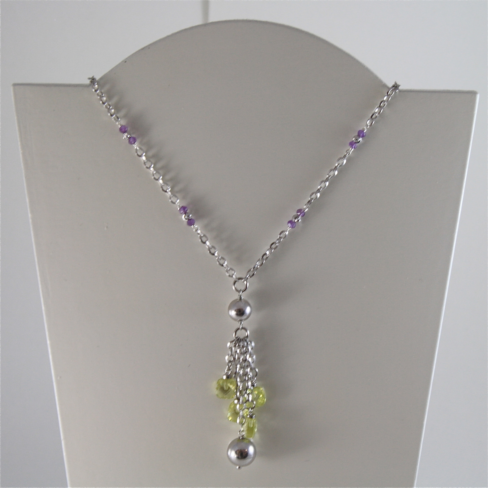 925 RODIUM SILVER NECKLACE WITH FACETED BALLS, AMETYST AND CRYSTAL MADE IN ITALY