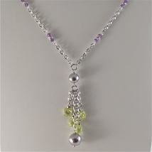 925 RODIUM SILVER NECKLACE WITH FACETED BALLS, AMETYST AND CRYSTAL MADE IN ITALY image 2