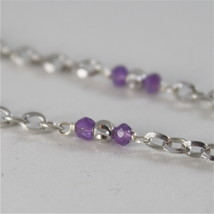 925 RODIUM SILVER NECKLACE WITH FACETED BALLS, AMETYST AND CRYSTAL MADE IN ITALY image 4