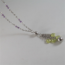 925 RODIUM SILVER NECKLACE WITH FACETED BALLS, AMETYST AND CRYSTAL MADE IN ITALY image 6