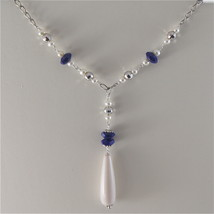 925 RODIUM SILVER NECKLACE WITH LAPIS, FW PEARLS AND FACETED BALLS MADE IN ITALY