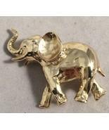 Vintage Elephant Pin Signed AJC Goldtone Brooch - $9.74