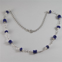 925 RODIUM SILVER NECKLACE WITH LAPIS, FW PEARLS AND FACETED BALLS MADE IN ITALY image 1
