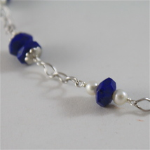 925 RODIUM SILVER NECKLACE WITH LAPIS, FW PEARLS AND FACETED BALLS MADE IN ITALY image 2