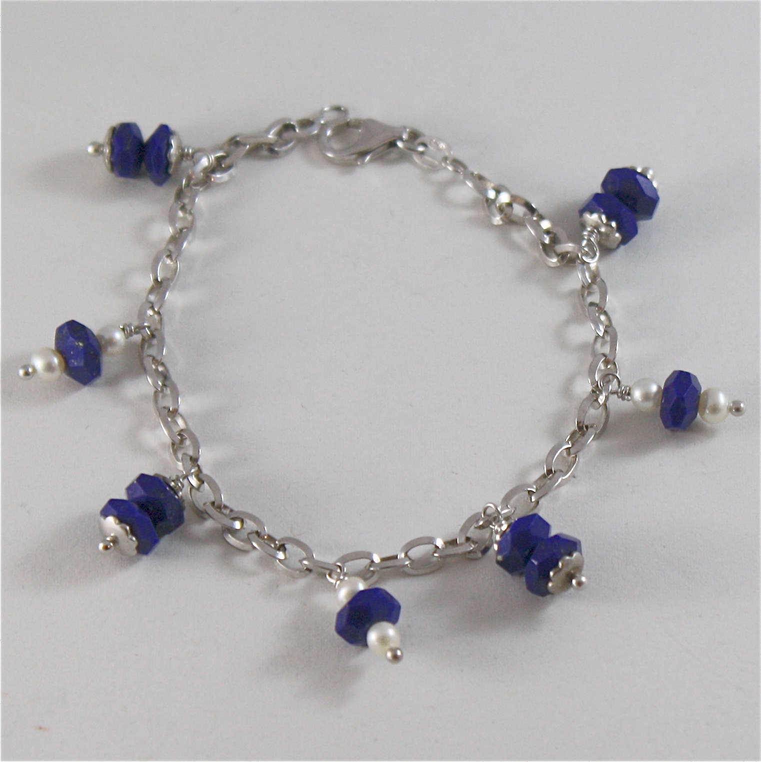 925 RODIUM SILVER BRACELET WITH NATURAL LAPIS LAZULI AND FW PEARLS MADE IN ITALY