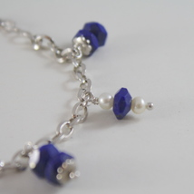 925 RODIUM SILVER BRACELET WITH NATURAL LAPIS LAZULI AND FW PEARLS MADE IN ITALY image 2