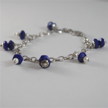925 RODIUM SILVER BRACELET WITH NATURAL LAPIS LAZULI AND FW PEARLS MADE IN ITALY image 4