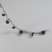 925 RODIUM SILVER BRACELET WITH NATURAL LAPIS LAZULI AND FW PEARLS MADE IN ITALY image 5