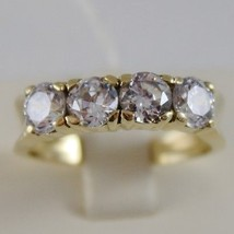 SOLID 18K YELLOW GOLD BAND RING WITH 4 CUBIC ZIRCONIA 2.40 CARATS, MADE ... - £425.31 GBP