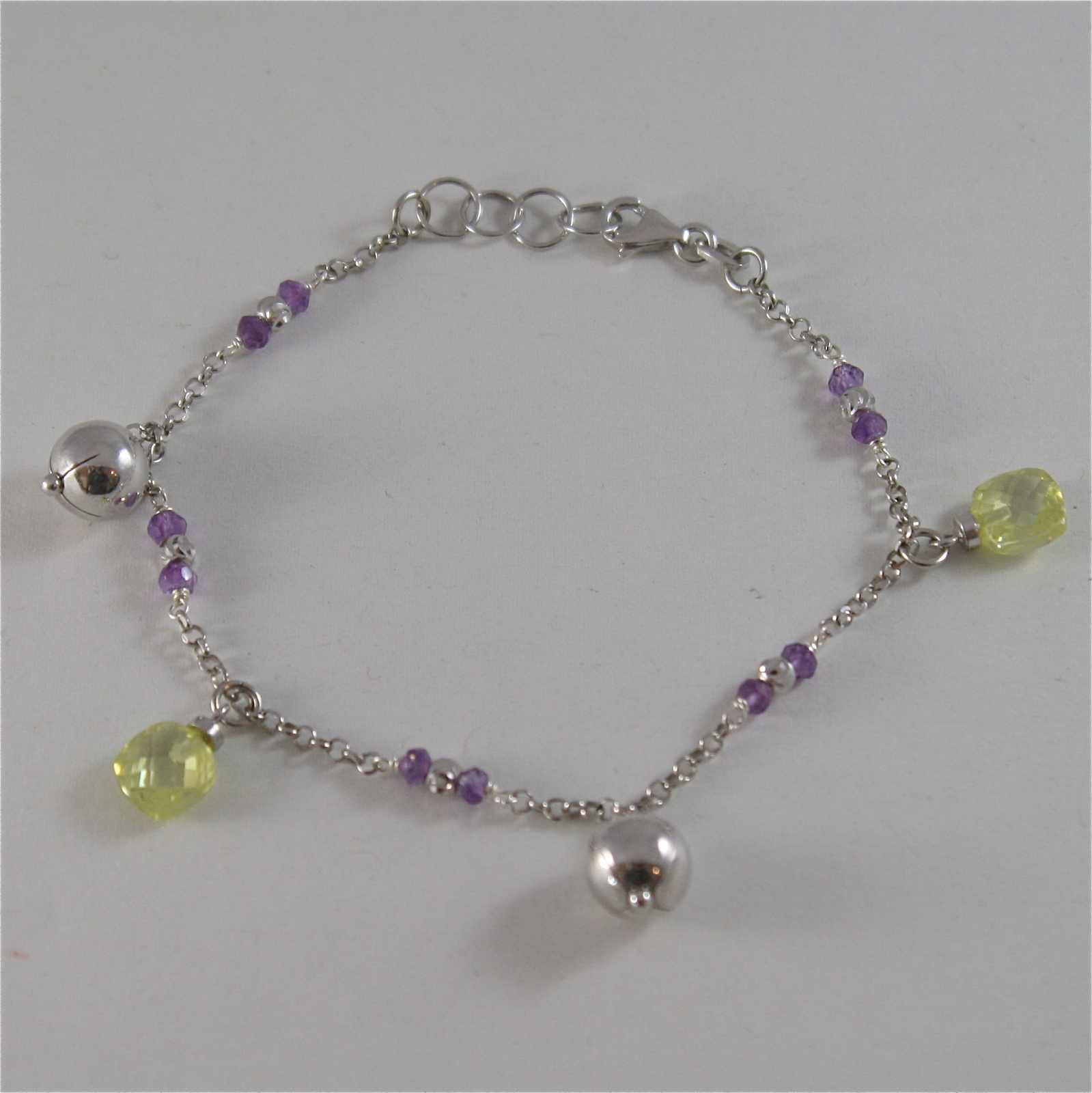 925 RODIUM SILVER BRACELET WITH FACETED BALLS, AMETHYST & CRYSTAL, MADE IN ITALY