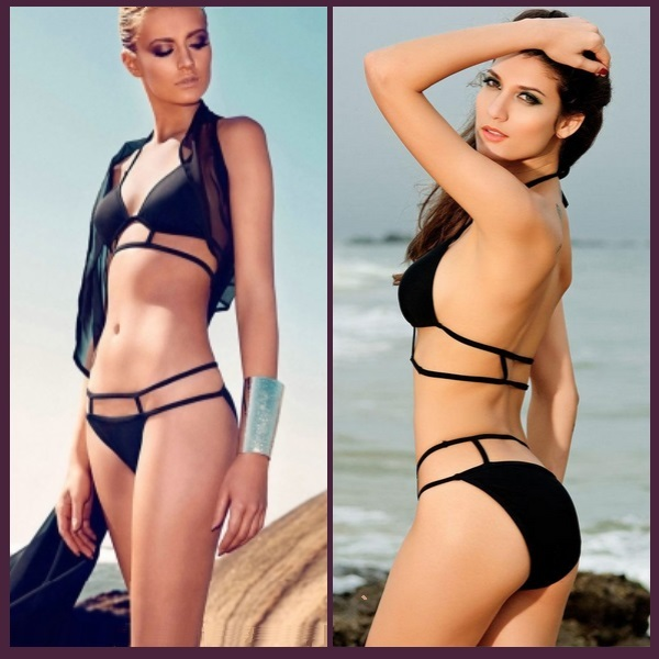 Hot Pink or Black Sexy Brazilian Strappy Design Padded Halter Bikini Swim Suit