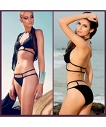Hot Pink or Black Sexy Brazilian Strappy Design Padded Halter Bikini Swi... - $58.95
