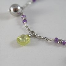 925 RODIUM SILVER BRACELET WITH FACETED BALLS, AMETHYST & CRYSTAL, MADE IN ITALY image 2