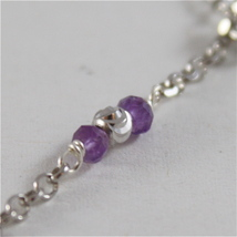 925 RODIUM SILVER BRACELET WITH FACETED BALLS, AMETHYST & CRYSTAL, MADE IN ITALY image 3