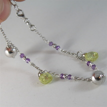 925 RODIUM SILVER BRACELET WITH FACETED BALLS, AMETHYST & CRYSTAL, MADE IN ITALY image 4